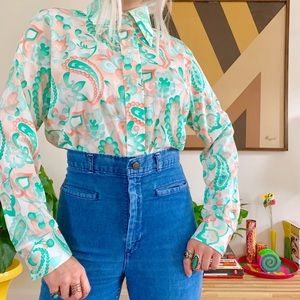 Vintage 70s psychedelic paisley collared blouse ML